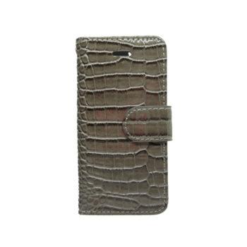 001e035ac7 Θήκη Πορτοφόλι Κροκό για iPhone 5 Γκρί